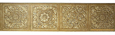 VICTORIAN TILE FAUX CARVED WOOD SCROLL MEDALLION ARCHITECTURAL Wallpaper Border