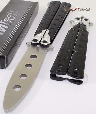 MTech Black Silver Dragon Balisong Training Practice Butterfly Style Knife