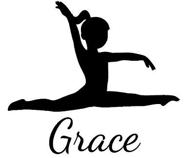 GYMNAST wall decal stickers gymnastics splits personalized GIRLS NAME & COLOR !