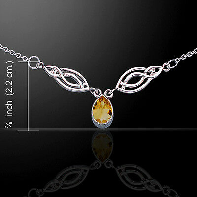 Celtic Knotwork .925 Sterling Silver Rainbow Necklace Choice of Gem Peter Stone