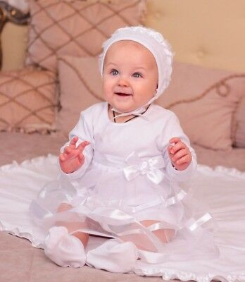Baby Girl Christening Dress White Baptism Outfit Newborn Clothes Infant Dress