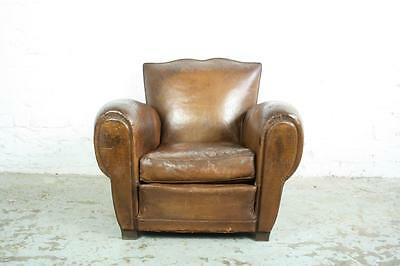 VINTAGE FRENCH BROWN LEATHER CLUB CHAIR 20s 30s ART DECO MOUSTACHE BACK #1628