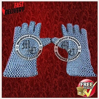 Medieval Armor Chainmail Leather Gauntlet Re-Enactment Costume Gloves RCD8