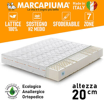 MATERASSO LATTICE 20 cm 100% LATEX Rivestimento Lavabile ALOE VERA Antibatterico