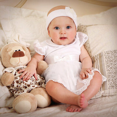 Newborn Baby Girl Baptism Dress Infant Outfit White Cotton Christening Romper