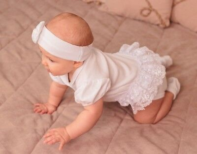 Baby Girl Christening Romper Newborn Baby Clothing White Cotton Baptism Outfit