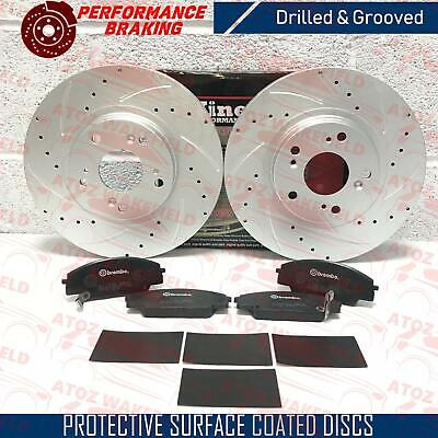 For Honda civic type R ep3 front grooved brake discs brembo pads shims kit