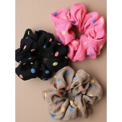 Girls Spotty Dotty Pretty Cute Scrunchie Assorted Colours Great For Party Bags