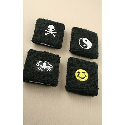 Boys Girls Ladies Wristband Sweatband Spider Skull Smiley Face Yin Yang
