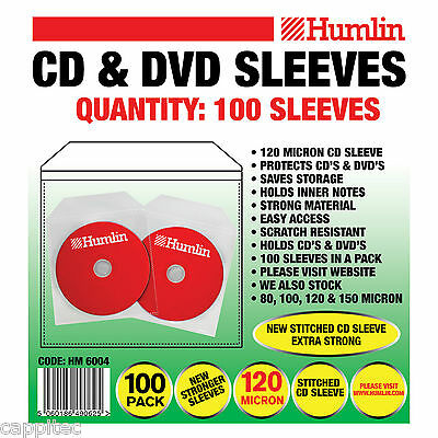 100 Humlin Quality 120 Micron Clear Cd / Dvd Sleeves With Stitched Edge Seem