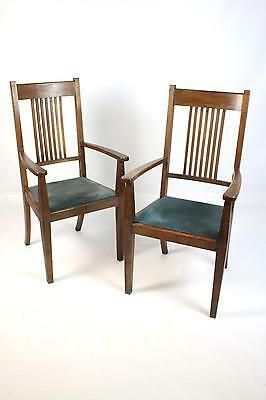 Pair of Antique Oak Arts & Crafts Open Armchairs Carver Chairs  Large dimensions