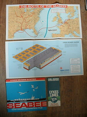 Vintage Lykes Lines Seabee Barge Shipping Brochures