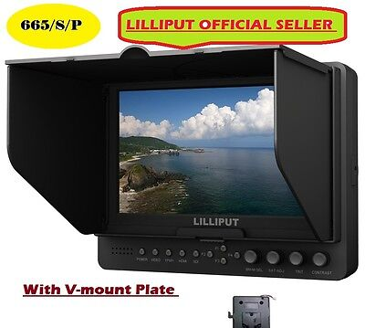 """LILLIPUT 7"""" 665/S/P HD-SDI Peaking Focus HDMI In&Out Monitor+V-mount plate"""