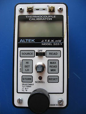 ALTEK THERMOCOUPLE CALIBRATOR MODEL 322-1 (J,T,E,K,mV) USED