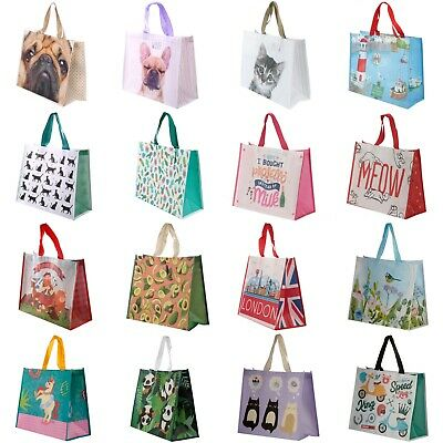 Durable Reusable Shopping Bag - Large Strong Tote Woven Design Heavy Duty Fun