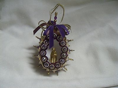 Vintage Gold Praying Mary Diorama Gold Purple Beaded  Easter Ornament Decor