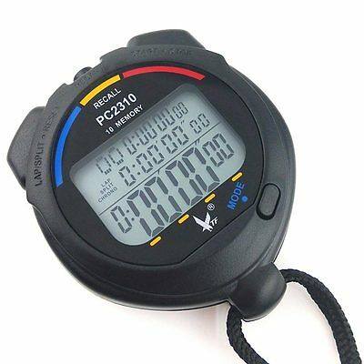 LEAP waterproof 3 Row Display 10 split recallable Swimming stopwatch Timer Pacer