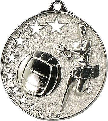 Netball Medal Silver 50mm With Neck Ribbon Engraved FREE
