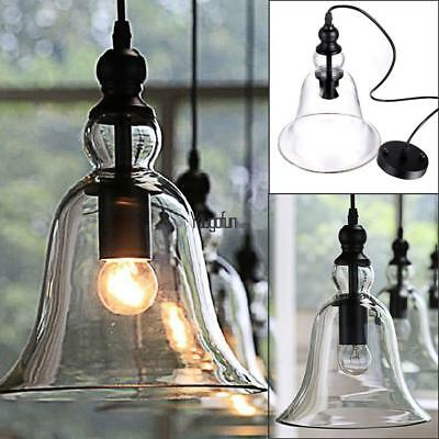 Vintage Country Style Glass Pendant Light Lamp Chandelier Big Bell Shape US