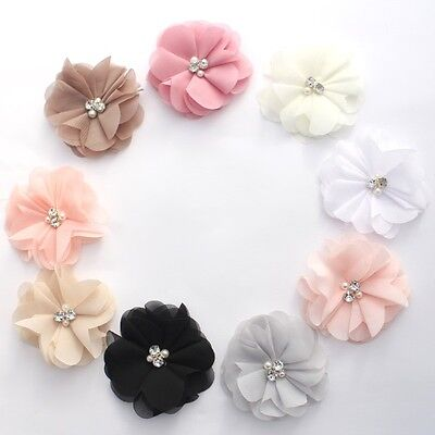 Chiffon Pearl and Rhinestone flowers 8 cm - for millinery , hair and crafts