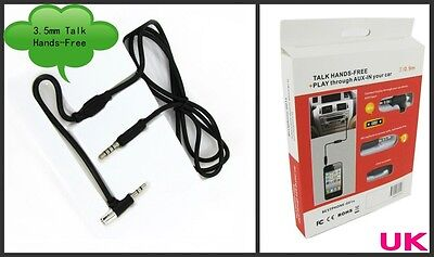 Hands Free 3.5mm Talk Play Through Aux Input In Car Cable For iPhone 4g 4gs 5 5g