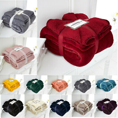 Flannel Sherpa Throws Fleece Blanket Double King Sofa Bed Large Soft Warm New