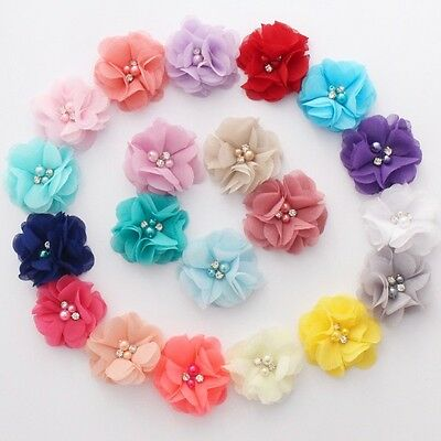 Chiffon Pearl and rhinestone flowers 5.5 cm - for millinery , hair and crafts