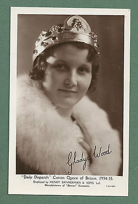 1930's Rp Pc Gladys Wood - Daily Dispatch Cotton Queen Of Britain 1934-35
