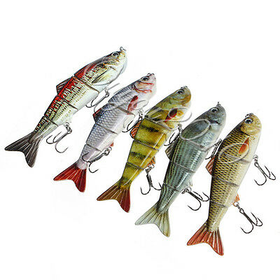 'Alive' Multi Jointed fishing Fish lures Bait Swimbait Dace Pike Perch Hook UK