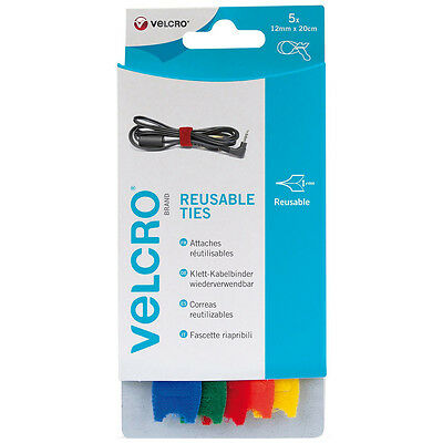 VELCRO® Brand 12mm x 20cm coloured reusable cable ties X 5 Pack