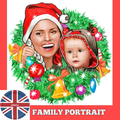 Custom Christmas Caricature from photo as family portrait Christmas Card online