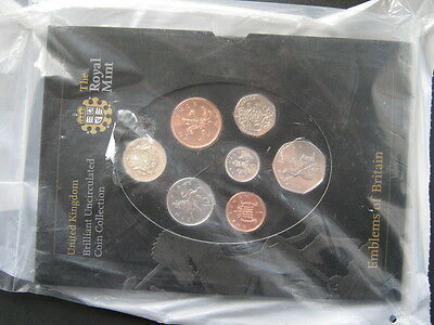 2008 Royal Mint  B UNC coin colection, Emblems of Britain, mint sealed.