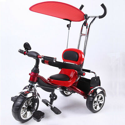 Kyootsi Kids Smart Trike Baby Tricycle 3 Wheel 4 in 1 Bike with Handle Red - New