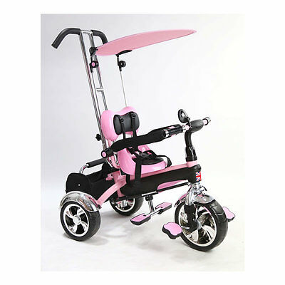 Kyootsi Kids Smart Trike Baby Tricycle 3 Wheel 4 in 1 Bike with Handle Pink- New