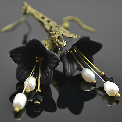 Black Lucite Flower White Pearl Glass Crystal Vintage Style Earrings w/ Gift Box