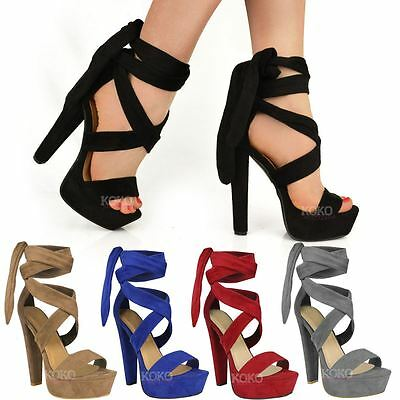 Womens Ladies Tie Lace Up Ankle High Heels Block Platforms Party Open Shoes Size