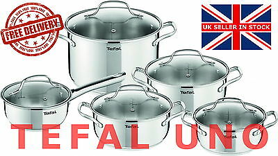 TEFAL UNO STAINLESS STEEL COOKWARE SET 10 PCS GLASS LID POTS KITCHEN induction