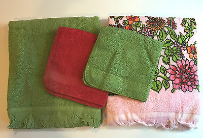 (K-779) NOS Vintage Cannon 2 Bath Towels 2 Wash Cloths Green Pink Mid Century