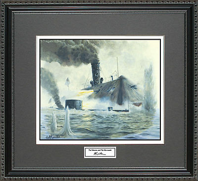 Mort Kunstler THE MONITOR AND THE MERRIMACK Framed Print Civil War Wall Art Gift
