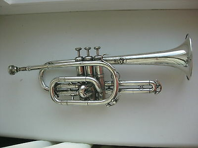 Antique Belgian Silver plated  Brass  cornet Persy Bruxelles