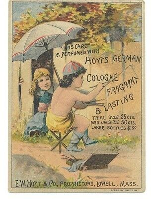 Hoyts German Cologne Girl & Boy Rubifoam Medicine Victorian Trade Card 1800's