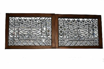 Victorian Beveled & Leaded Glass Clear Window With Jewels Floral Design