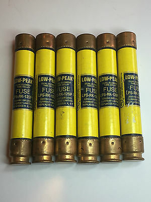 (K-668) New Lot 6 Bussmann LPS-RK-12SP Amp Fuses Low-Peak Class RK1 600 Volts