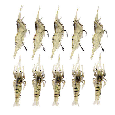 10x Shrimp Fishing Simulation Soft Prawn Lure Hook Tackle Bait Sea Fishing Lures