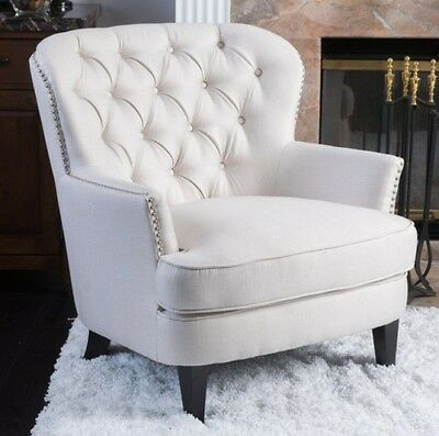 Ivory Club Chair Tufted Accent Arm Chairs White Cream Living Room Furniture  NEW