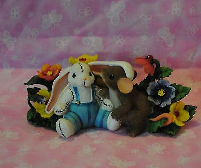 """Charming Tails """"i Have A Soft Spot For You"""" Easter Bunny Flowers Rabbit New"""