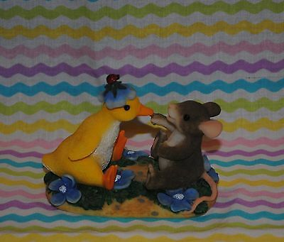 "Charming Tails ""you Quack Me Up"" Duck Mouse Flowers Easter Spring, Htf"