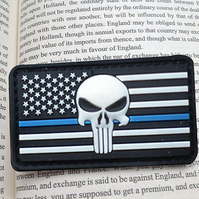 Punisher Skull U.s. Flag Usa Army Morale Badge Pvc Tactical Hook & Loop Patch /r