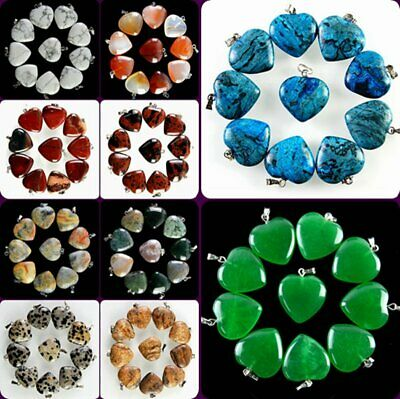 Wholesale 10pcs Beautiful Mixed Gemstone Heart Pendant Bead H-TX11