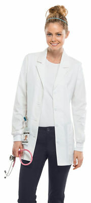 Cherokee Women's Pocket Long Sleeve Knit Cuffs Workwear Lab Coat. 4416